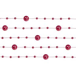5 x Guirlande de perles rouge 130 cm
