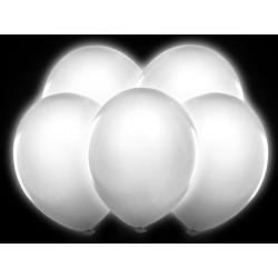 5 x ballon à gonfler blanc et lumière LED