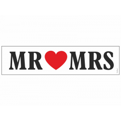 "Plaque d'immatriculation ""MR love MRS"" noir et rouge"