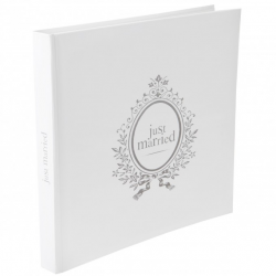 "Livre d'or carré blanc et gris ""JUST MARRIED"""