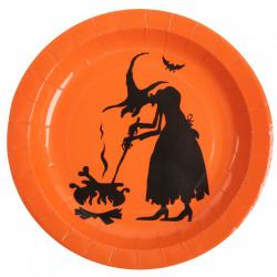 10 x assiette Halloween sorcière orange et noire