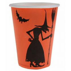 10 x gobelet Halloween sorcière orange et noire