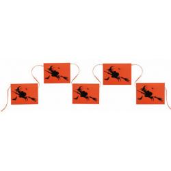 1 x banderole Halloween sorcière orange et noire