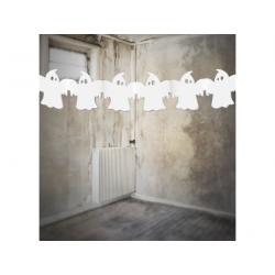 "Guirlande halloween ""fantôme 3 mètres en papier blanc"