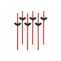 6 x paille rouge et chauve souris noires Halloween