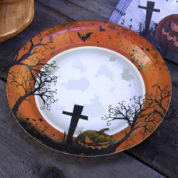 8x assiette Halloween noir et orange cimetière