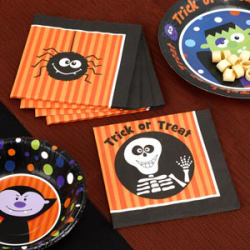 20 x Serviette Halloween trick or treat squelette noir et orange