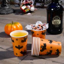 8 x gobelet Halloween chauve souris orange et noir