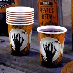 8 x gobelet Halloween cimetière orange, noir et blanc