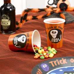 8 x gobelet Halloween trick or treat orange, noir et blanc