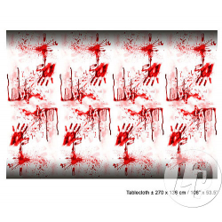 Nappe Halloween blanche et rouge rectangulaire 2.70x1.36m