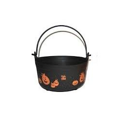 Chaudron Halloween orange et noir