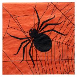 20 x Serviette Halloween toile et araignée noir et orange