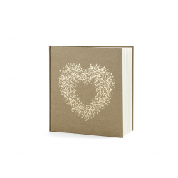 Livre d'or carré kraft et arabesque forme coeur doré 20.5x20.5cm