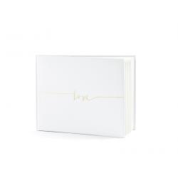 Livre d'or rectangulaire blanc avec Love doré 24x18.47cm