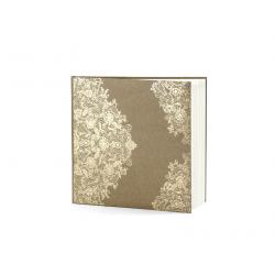 Livre d'or carré kraft et arabesque dorée 20.5x20.5cm