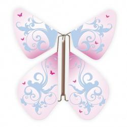 10 x papillon magique baroque rose et arabesque bleue