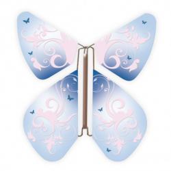 10 x papillon magique baroque bleu et arabesque rose