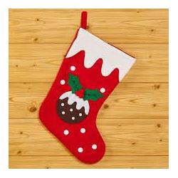 Chaussette de Noël rouge et blanche avec boule et houx 40cm