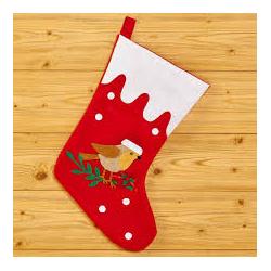 Chaussette de Noël rouge et blanche avec oiseau et houx 40cm