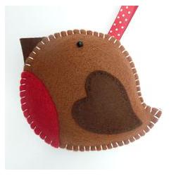 Décoration de Noël feutrine oiseau brun rouge