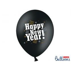"""10x Ballon à gonfler noir et blanc """"Happy New Year"""""""