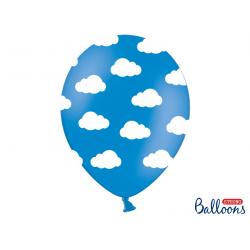 10 x ballon 30cm bleu ciel et nuage blanc