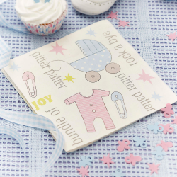 20 x serviette Tiny Feet pastel bleu et rose