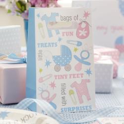 5 x sac à bonbons Tiny Feet pastel bleu et rose