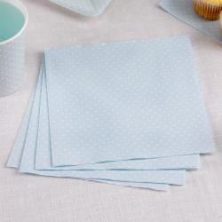 20 x serviette bleu ciel à pois blancs