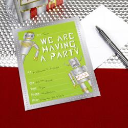 "Carte d'invitation ""robot"" metal et vert"
