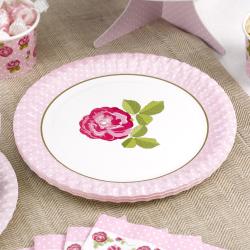 8 x assiette papier carton jetable Vintage Rose