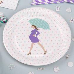 20 x serviette futur maman parapluie vert et mauve