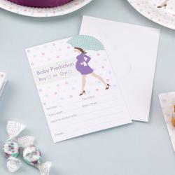 10 x carte d'invitation futur maman parapluie vert et mauve