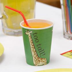 Gobelets animaux de zoo girafe 8 pièces