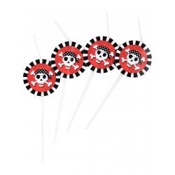 6x Pailles flexibles pirate rouge noir blanc