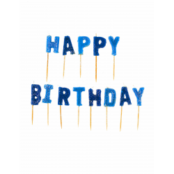 "Bougies ""HAPPY BIRTHDAY"" lettres bleues pailletées"