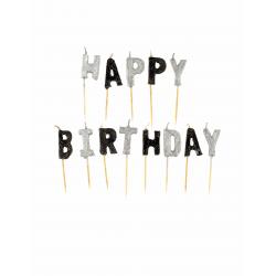 """Bougies """"HAPPY BIRTHDAY"""" lettres noires grises pailletées"""