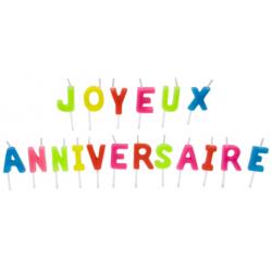 """Bougies """"JOYEUX ANNIVERSAIRE"""" lettres multicolores"""