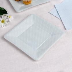 8 x assiette carrée bleu pastel à pois blanc