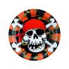8 x Assiette pirate tête de mort et pièces d'or