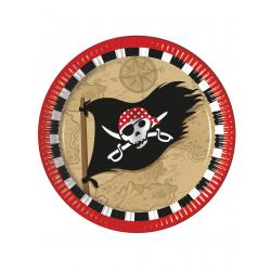 8 x Assiette pirate chasse au trésor 23cm