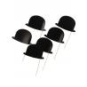 6 x chapeau melon noir sur tige pour photobooth