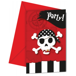 6 x carte d'invitation pirate tête de mort