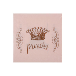 20 x serviette rose avec couronne de princesse et arabesques dorées 33x33cm