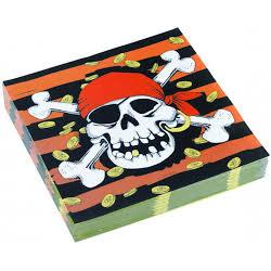 20 x serviette pirate des Caraïbes 33x33cm