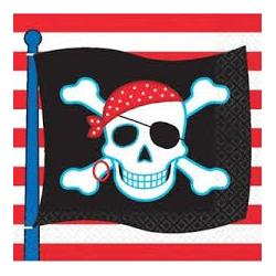 16 x serviette pirate tête de mort (32.7x32.7cm)