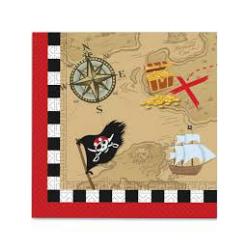 20 x Serviette pirate chasse au trésor 33x33cm