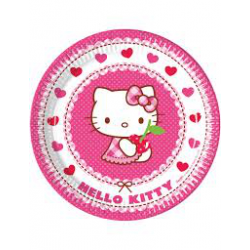 8 x Assiette Hello Kitty blanc, rose et rouge 23cm