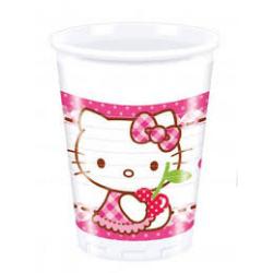 8 x Assiette Hello Kitty blanc, rose et rouge 23cm